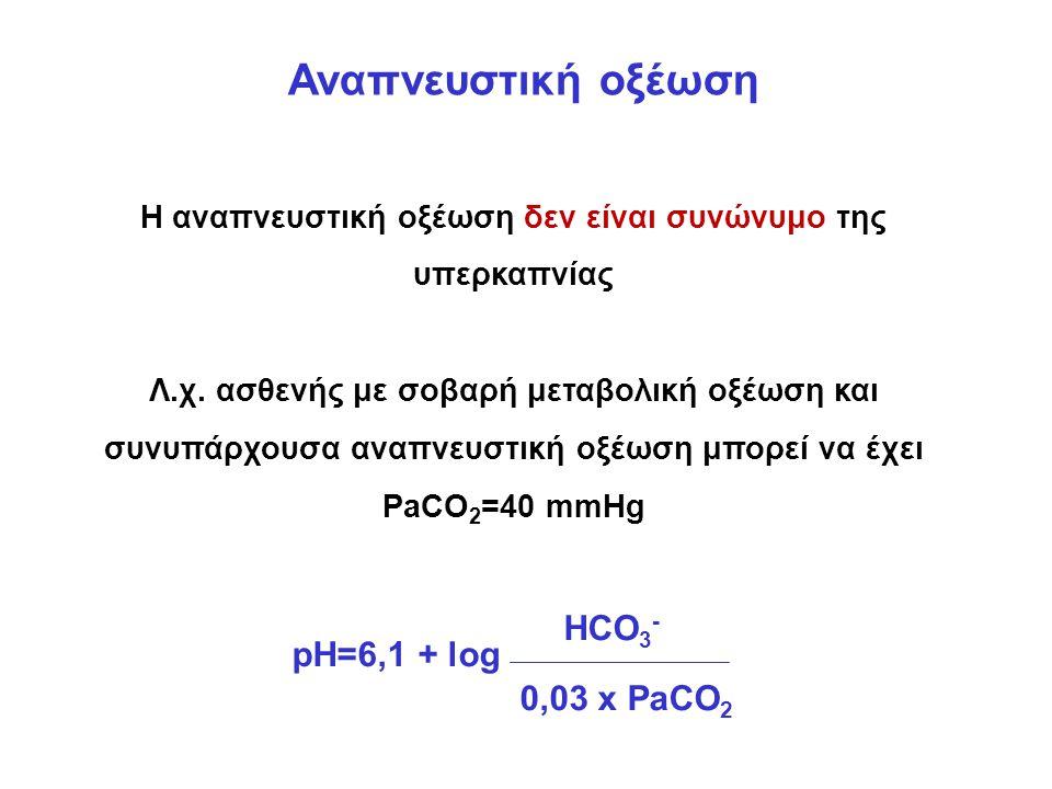 Αναπνευστική οξέωση Η αναπνευστική οξέωση δεν είναι συνώνυμο της υπερκαπνίας Λ.χ.