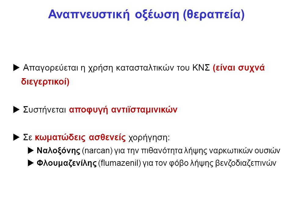 Αναπνευστική οξέωση (θεραπεία)  Απαγορεύεται η χρήση κατασταλτικών του ΚΝΣ (είναι συχνά διεγερτικοί)  Συστήνεται αποφυγή αντιϊσταμινικών  Σε κωματώδεις ασθενείς χορήγηση:  Ναλοξόνης (narcan) για την πιθανότητα λήψης ναρκωτικών ουσιών  Φλουμαζενίλης (flumazenil) για τον φόβο λήψης βενζοδιαζεπινών
