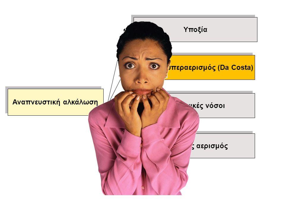 Υποξία Εκούσιος υπεραερισμός (Da Costa) Πνευμονικές νόσοι Μηχανικός αερισμός