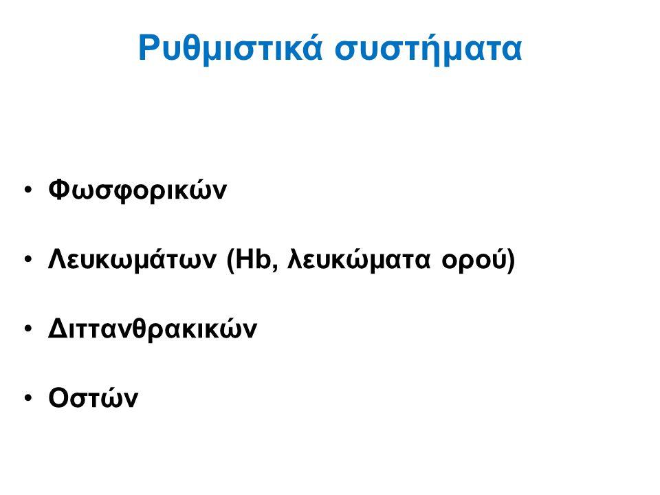Φωσφορικών Λευκωμάτων (Hb, λευκώματα ορού) Διττανθρακικών Οστών Ρυθμιστικά συστήματα