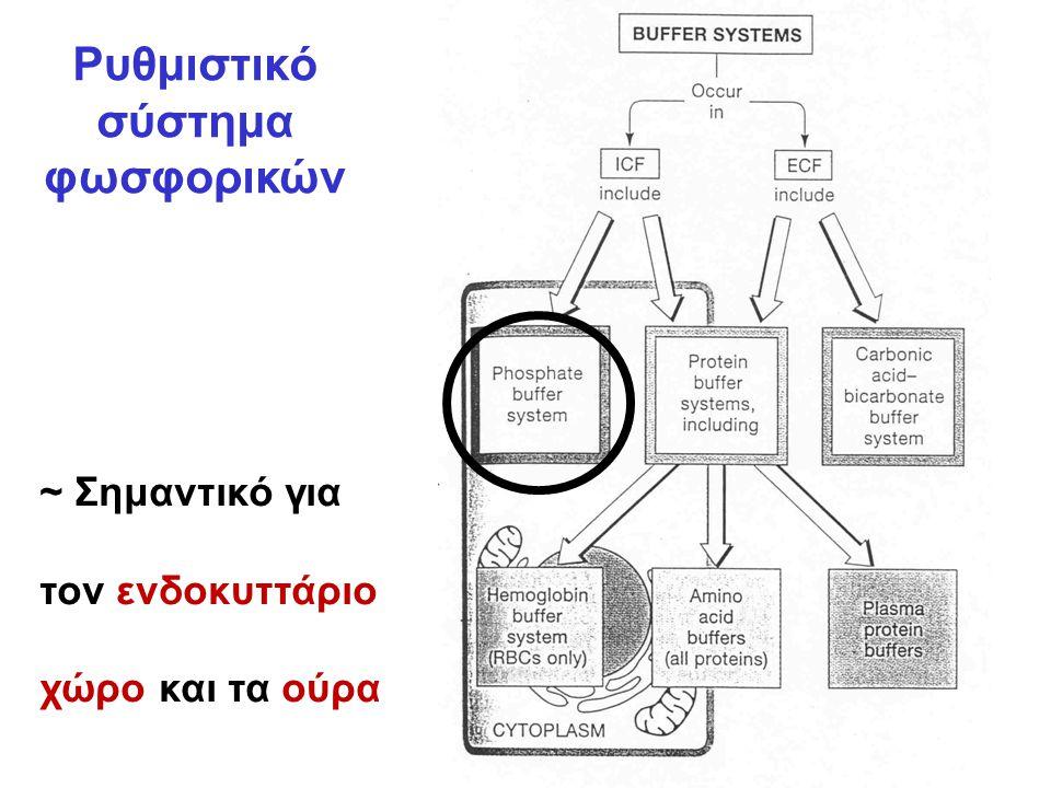 Ρυθμιστικό σύστημα φωσφορικών ~ Σημαντικό για τον ενδοκυττάριο χώρο και τα ούρα