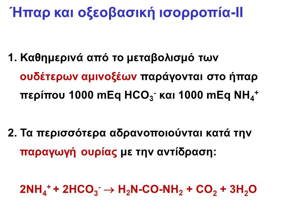 1. Καθημερινά από το μεταβολισμό των ουδέτερων αμινοξέων παράγονται στο ήπαρ περίπου 1000 mEq HCO 3 - και 1000 mEq NH 4 + 2. Τα περισσότερα αδρανοποιο