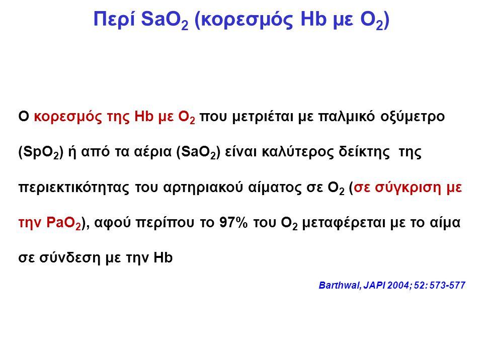 Ο κορεσμός της Hb με Ο 2 που μετριέται με παλμικό οξύμετρο (SpO 2 ) ή από τα αέρια (SaO 2 ) είναι καλύτερος δείκτης της περιεκτικότητας του αρτηριακού αίματος σε Ο 2 (σε σύγκριση με την PaO 2 ), αφού περίπου το 97% του Ο 2 μεταφέρεται με το αίμα σε σύνδεση με την Hb Barthwal, JAPI 2004; 52: 573-577 Περί SaO 2 (κορεσμός Hb με Ο 2 )