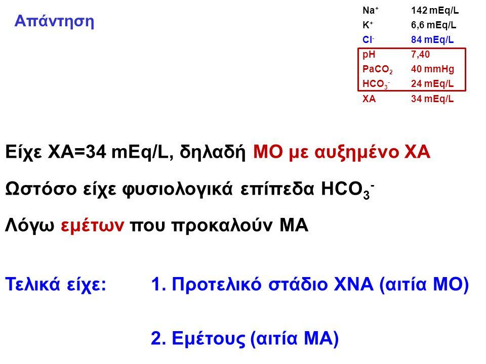 Είχε ΧΑ=34 mEq/L, δηλαδή ΜΟ με αυξημένο ΧΑ Ωστόσο είχε φυσιολογικά επίπεδα HCO 3 - Λόγω εμέτων που προκαλούν ΜΑ Τελικά είχε: 1.