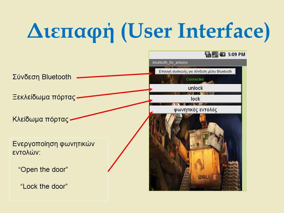 """Διεπαφή (User Interface) Σύνδεση Bluetooth Ξεκλείδωμα πόρτας Κλείδωμα πόρτας Ενεργοποίηση φωνητικών εντολών: """"Open the door"""" """"Lock the door"""""""