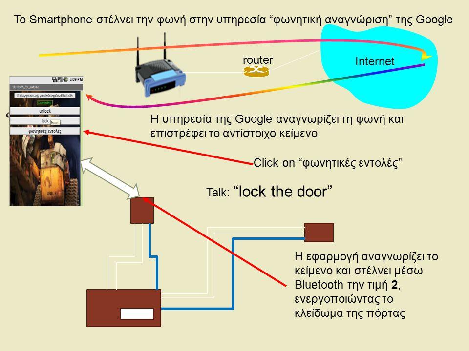 "router Internet Click on ""φωνητικές εντολές"" Η εφαρμογή αναγνωρίζει το κείμενο και στέλνει μέσω Bluetooth την τιμή 2, ενεργοποιώντας το κλείδωμα της π"