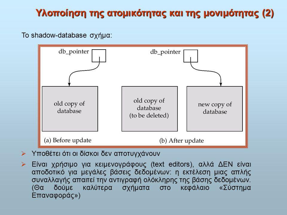 Υλοποίηση της ατομικότητας και της μονιμότητας (2)  Υποθέτει ότι οι δίσκοι δεν αποτυγχάνουν  Είναι χρήσιμο για κειμενογράφους (text editors), αλλά ΔΕΝ είναι αποδοτικό για μεγάλες βάσεις δεδομένων: η εκτέλεση μιας απλής συναλλαγής απαιτεί την αντιγραφή ολόκληρης της βάσης δεδομένων.