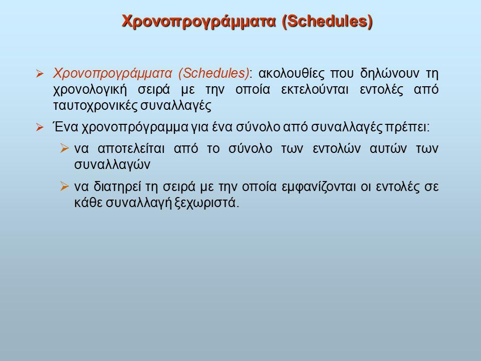 Χρονοπρογράμματα (Schedules)  Χρονοπρογράμματα (Schedules): ακολουθίες που δηλώνουν τη χρονολογική σειρά με την οποία εκτελούνται εντολές από ταυτοχρονικές συναλλαγές  Ένα χρονοπρόγραμμα για ένα σύνολο από συναλλαγές πρέπει:  να αποτελείται από το σύνολο των εντολών αυτών των συναλλαγών  να διατηρεί τη σειρά με την οποία εμφανίζονται οι εντολές σε κάθε συναλλαγή ξεχωριστά.