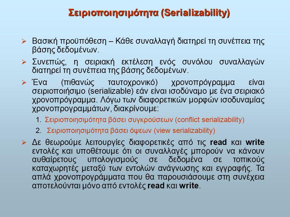 Σειριοποιησιμότητα (Serializability)  Βασική προϋπόθεση – Κάθε συναλλαγή διατηρεί τη συνέπεια της βάσης δεδομένων.