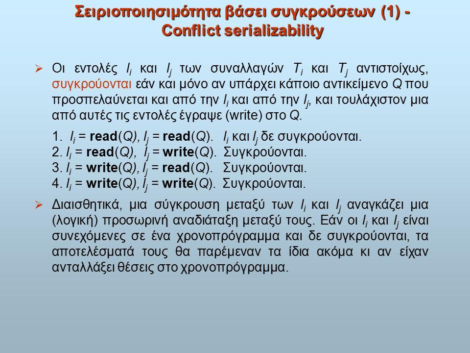Σειριοποιησιμότητα βάσει συγκρούσεων (1) - Conflict serializability  Οι εντολές l i και l j των συναλλαγών T i και T j αντιστοίχως, συγκρούονται εάν και μόνο αν υπάρχει κάποιο αντικείμενο Q που προσπελαύνεται και από την l i και από την l j, και τουλάχιστον μια από αυτές τις εντολές έγραψε (write) στο Q.
