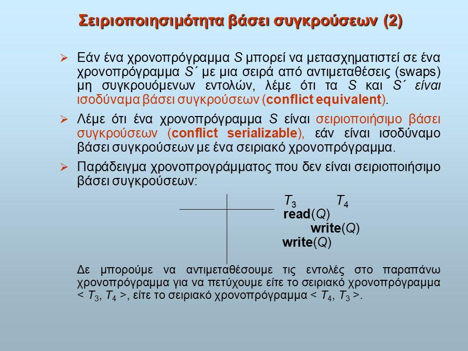 Σειριοποιησιμότητα βάσει συγκρούσεων (2)  Εάν ένα χρονοπρόγραμμα S μπορεί να μετασχηματιστεί σε ένα χρονοπρόγραμμα S´ με μια σειρά από αντιμεταθέσεις (swaps) μη συγκρουόμενων εντολών, λέμε ότι τα S και S´ είναι ισοδύναμα βάσει συγκρούσεων (conflict equivalent).