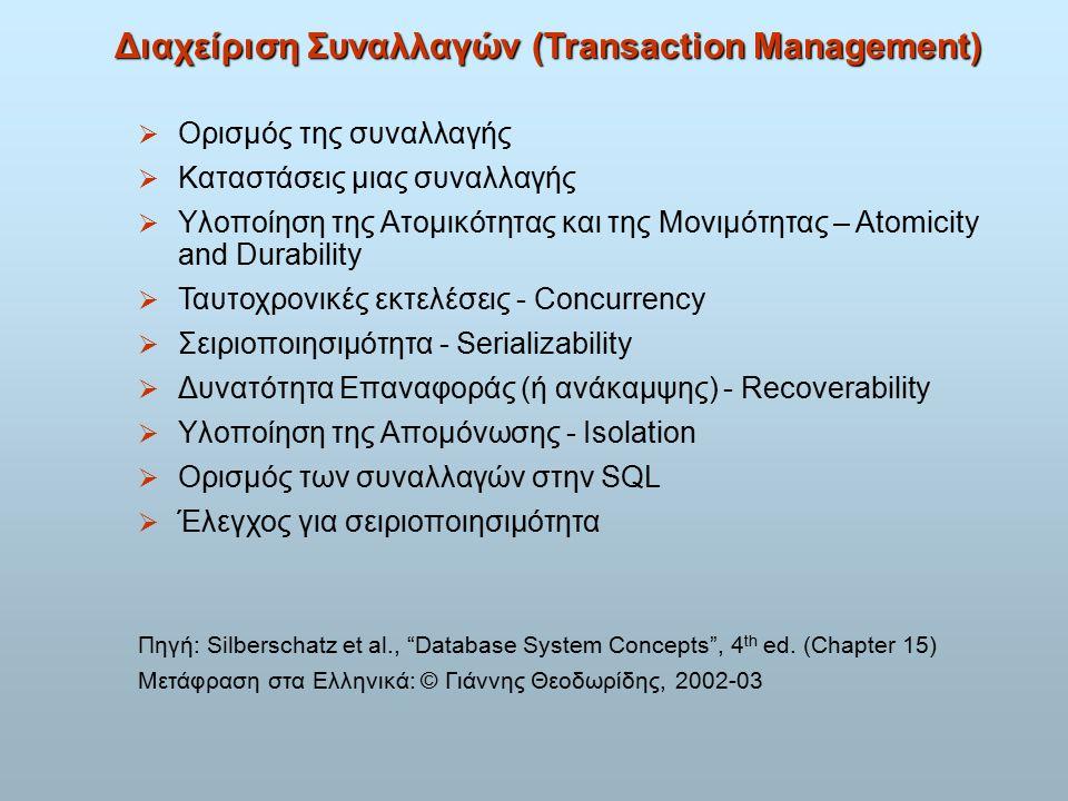 Ορισμός της συναλλαγής  Μια συναλλαγή (transaction) είναι ένα τμήμα της εκτέλεσης προγράμματος, που προσπελαύνει και πιθανόν ενημερώνει διάφορα αντικείμενα δεδομένων.