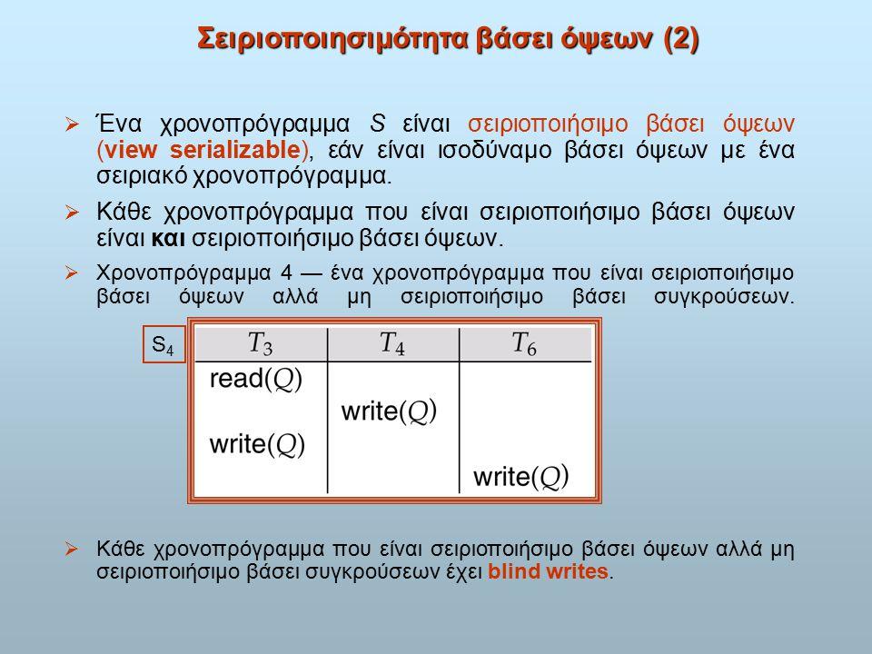 Σειριοποιησιμότητα βάσει όψεων (2)  Ένα χρονοπρόγραμμα S είναι σειριοποιήσιμο βάσει όψεων (view serializable), εάν είναι ισοδύναμο βάσει όψεων με ένα σειριακό χρονοπρόγραμμα.