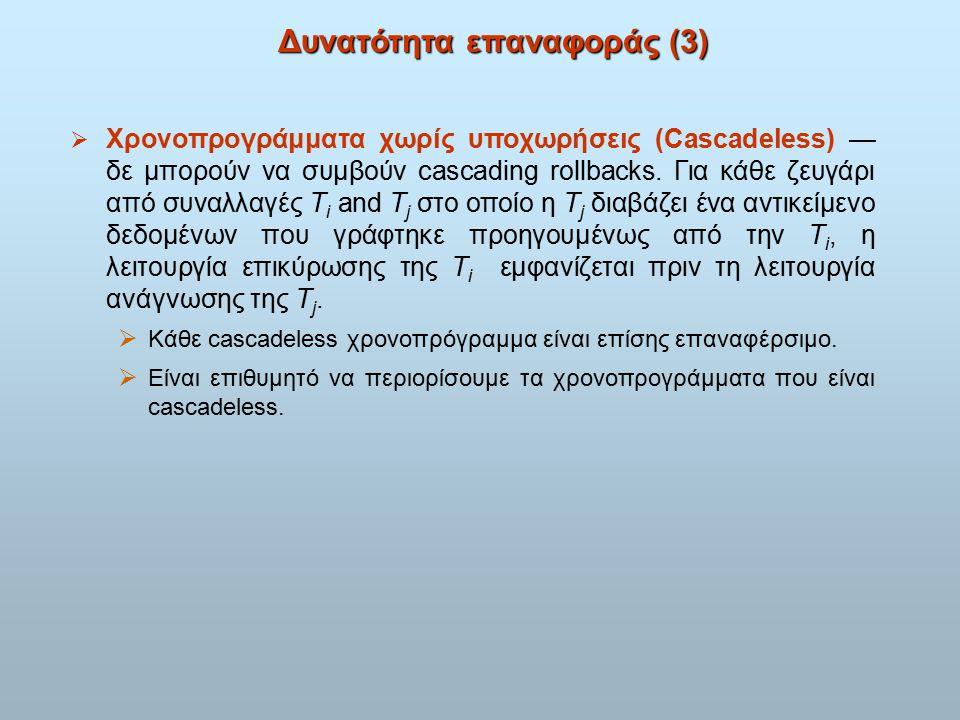 Δυνατότητα επαναφοράς (3)  Χρονοπρογράμματα χωρίς υποχωρήσεις (Cascadeless) — δε μπορούν να συμβούν cascading rollbacks.