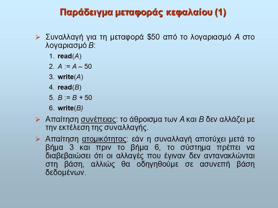 Παράδειγμα μεταφοράς κεφαλαίου (1)  Συναλλαγή για τη μεταφορά $50 από το λογαριασμό A στο λογαριασμό B: 1.read(A) 2.A := A – 50 3.write(A) 4.read(B) 5.B := B + 50 6.write(B)  Απαίτηση συνέπειας: το άθροισμα των A και B δεν αλλάζει με την εκτέλεση της συναλλαγής.
