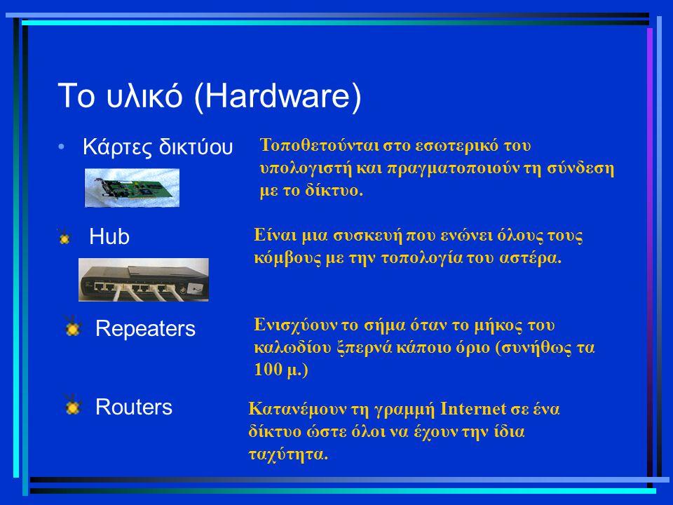 Το υλικό (Hardware) Κάρτες δικτύου Τοποθετούνται στο εσωτερικό του υπολογιστή και πραγματοποιούν τη σύνδεση με το δίκτυο. Hub Είναι μια συσκευή που εν