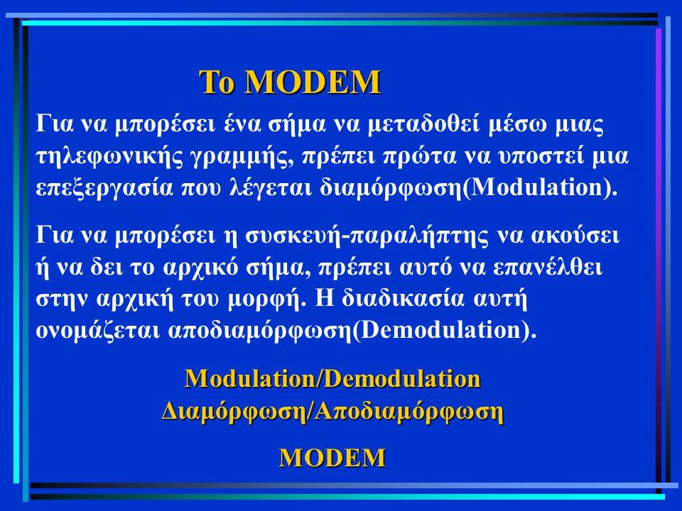 Το MODEM Για να μπορέσει ένα σήμα να μεταδοθεί μέσω μιας τηλεφωνικής γραμμής, πρέπει πρώτα να υποστεί μια επεξεργασία που λέγεται διαμόρφωση(Modulatio