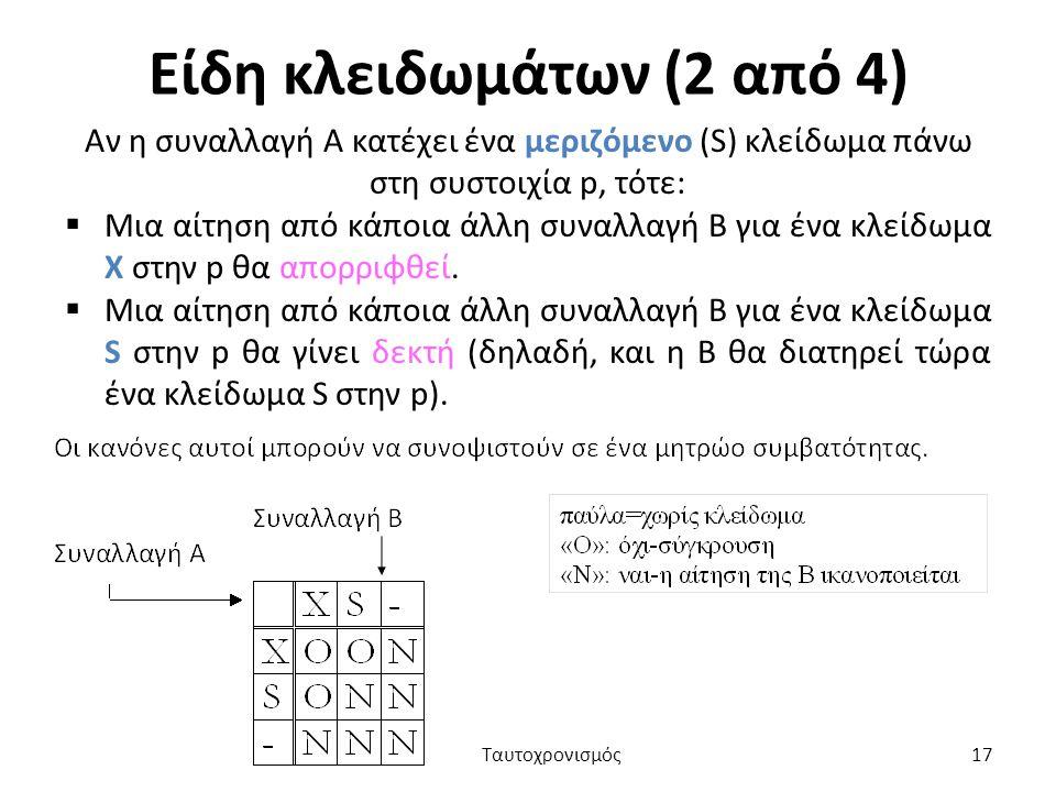 Είδη κλειδωμάτων (2 από 4) Αν η συναλλαγή Α κατέχει ένα μεριζόμενο (S) κλείδωμα πάνω στη συστοιχία p, τότε:  Μια αίτηση από κάποια άλλη συναλλαγή Β για ένα κλείδωμα Χ στην p θα απορριφθεί.