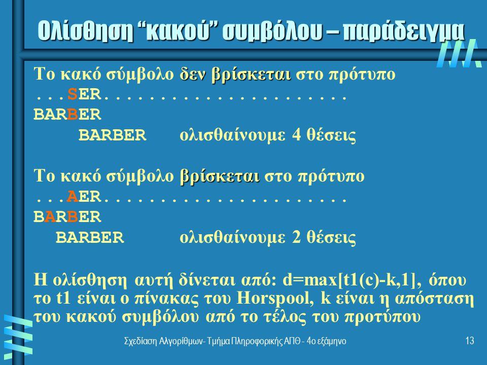 Σχεδίαση Αλγορίθμων- Τμήμα Πληροφορικής ΑΠΘ - 4ο εξάμηνο13 δεν βρίσκεται Το κακό σύμβολο δεν βρίσκεται στο πρότυπο...SER...................... BARBER