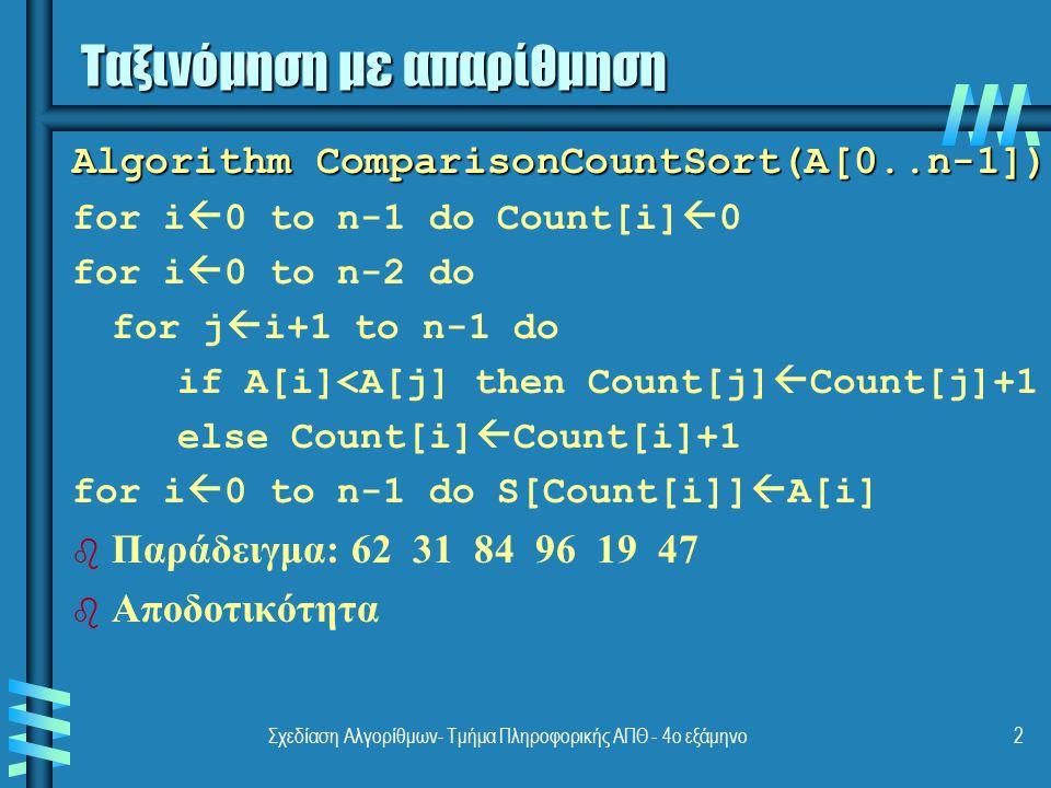 Σχεδίαση Αλγορίθμων- Τμήμα Πληροφορικής ΑΠΘ - 4ο εξάμηνο3 Algorithm DistributeCountSort(A[0..n-1]) for j  0 to u-l do D[j]  0 for i  0 to n-1 do D[A[i]-l]  D[A[i]-l]+1 for j  1 to u-l do D[j]  D[j-1]+D[j] for i  n-1 down to 0 do j  A[i]-l; S[D[j]-1]  A[i]; D[j]  D[j]-1 b b Παράδειγμα: 13 11 12 13 12 12 b b Αποδοτικότητα Ταξινόμηση με απαρίθμηση (2)