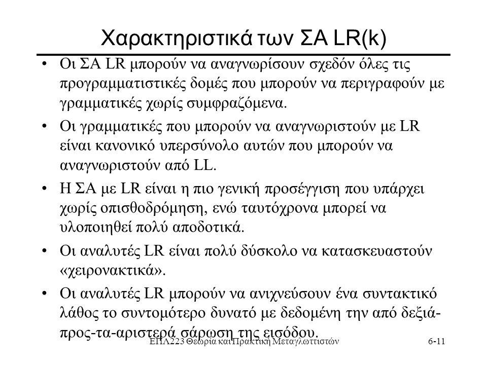 ΕΠΛ223 Θεωρία και Πρακτική Μεταγλωττιστών6-11 Χαρακτηριστικά των ΣΑ LR(k) Οι ΣΑ LR μπορούν να αναγνωρίσουν σχεδόν όλες τις προγραμματιστικές δομές που
