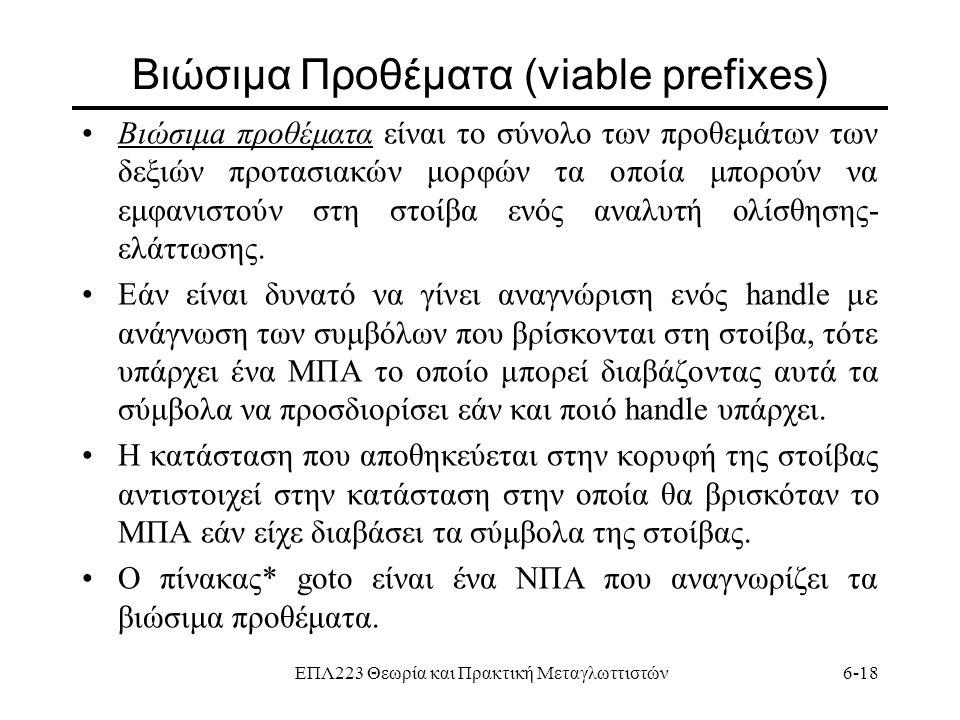 ΕΠΛ223 Θεωρία και Πρακτική Μεταγλωττιστών6-18 Βιώσιμα Προθέματα (viable prefixes) Βιώσιμa πρoθέματα είναι το σύνολο των προθεμάτων των δεξιών προτασια