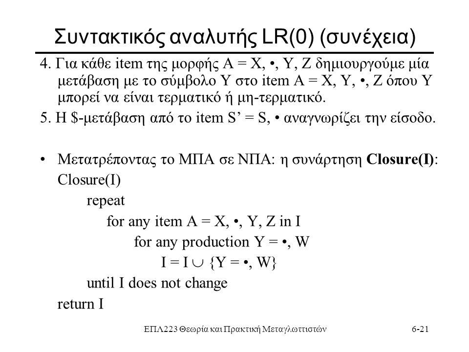 ΕΠΛ223 Θεωρία και Πρακτική Μεταγλωττιστών6-21 Συντακτικός αναλυτής LR(0) (συνέχεια) 4. Για κάθε item της μορφής A = Χ,, Y, Z δημιουργούμε μία μετάβαση