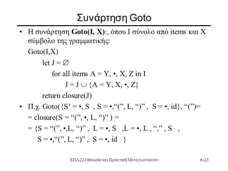ΕΠΛ223 Θεωρία και Πρακτική Μεταγλωττιστών6-23 Συνάρτηση Goto H συνάρτηση Goto(I, X):, όπου Ι σύνολο από items και Χ σύμβολο της γραμματικής: Goto(I,X)