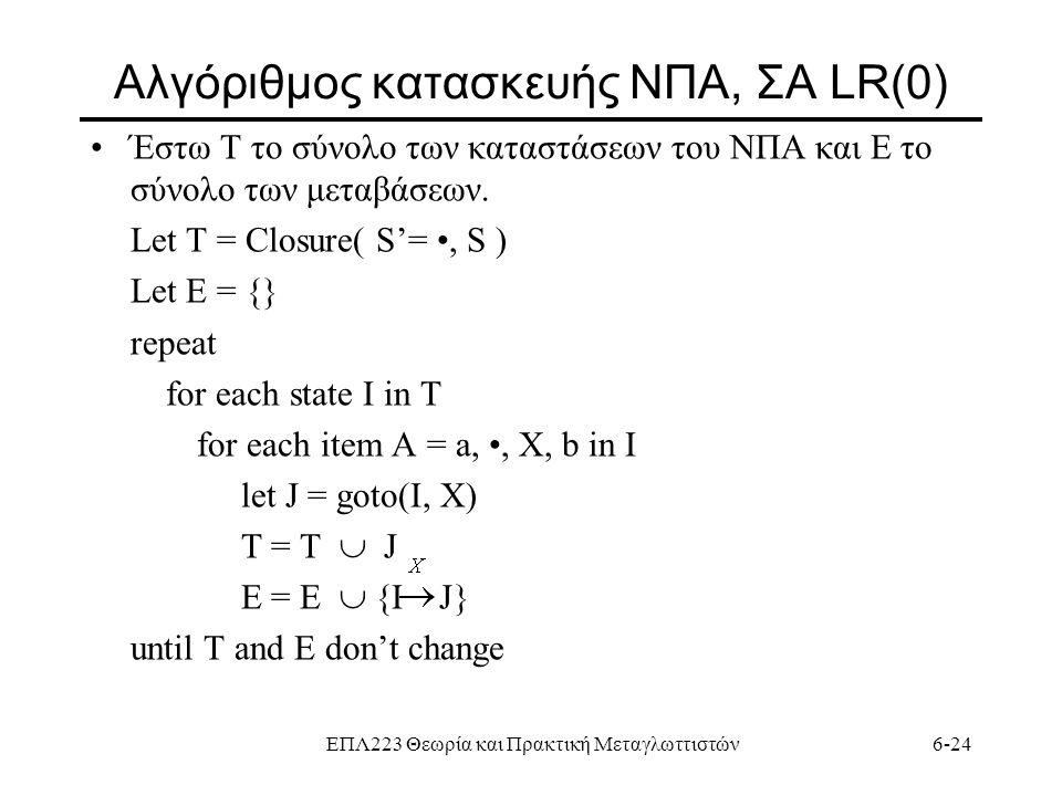 ΕΠΛ223 Θεωρία και Πρακτική Μεταγλωττιστών6-24 Aλγόριθμος κατασκευής ΝΠΑ, ΣΑ LR(0) Έστω Τ το σύνολο των καταστάσεων του ΝΠΑ και Ε το σύνολο των μεταβάσ