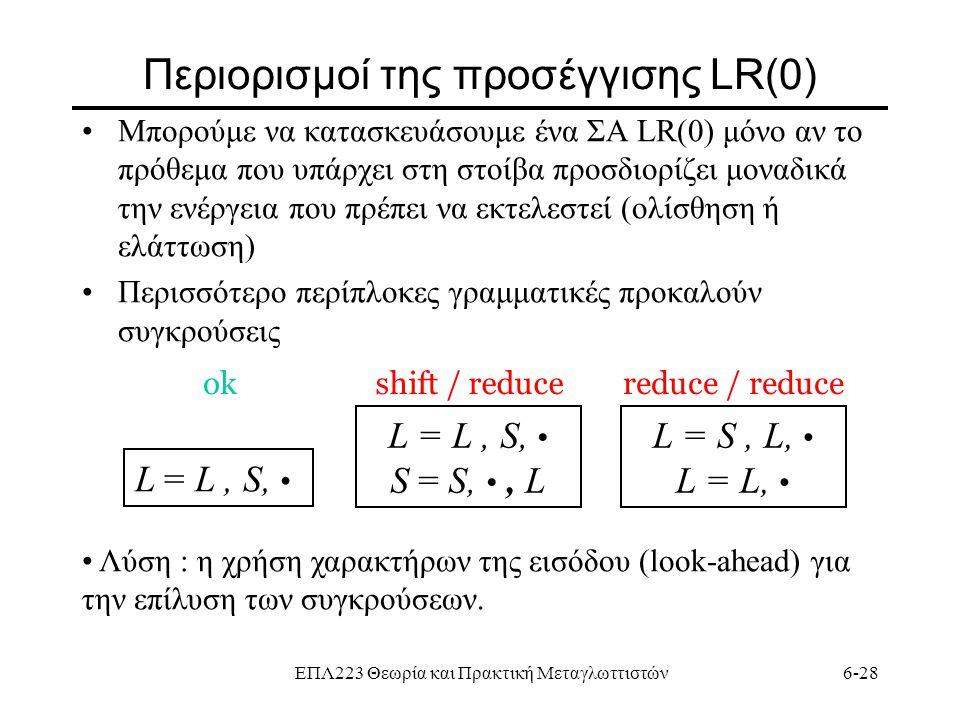 ΕΠΛ223 Θεωρία και Πρακτική Μεταγλωττιστών6-28 Περιορισμοί της προσέγγισης LR(0) Μπορούμε να κατασκευάσουμε ένα ΣΑ LR(0) μόνο αν το πρόθεμα που υπάρχει