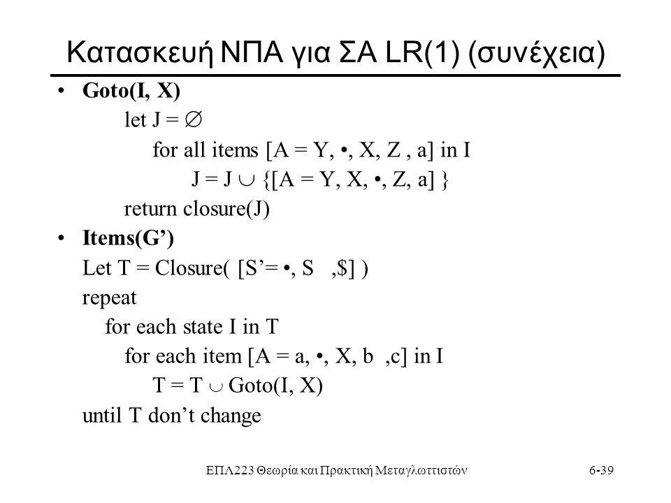ΕΠΛ223 Θεωρία και Πρακτική Μεταγλωττιστών6-39 Κατασκευή ΝΠΑ για ΣΑ LR(1) (συνέχεια) Goto(I, X) let J =  for all items [A = Y,, X, Z, a] in I J = J 