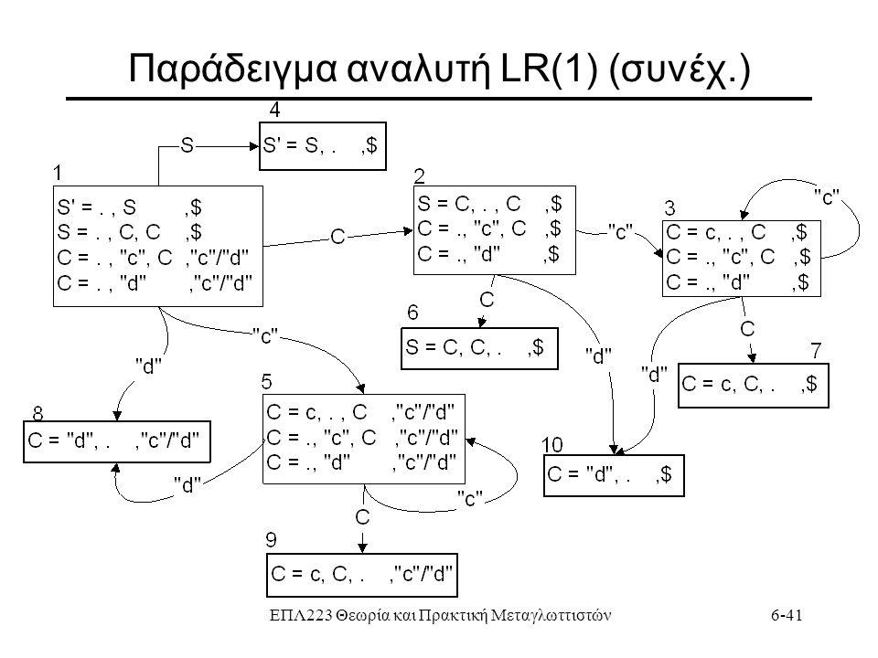 ΕΠΛ223 Θεωρία και Πρακτική Μεταγλωττιστών6-41 Παράδειγμα αναλυτή LR(1) (συνέχ.)