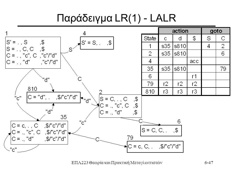 ΕΠΛ223 Θεωρία και Πρακτική Μεταγλωττιστών6-47 Παράδειγμα LR(1) - LALR