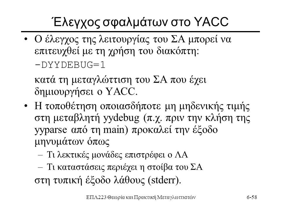 ΕΠΛ223 Θεωρία και Πρακτική Μεταγλωττιστών6-58 Έλεγχος σφαλμάτων στο YACC Ο έλεγχος της λειτουργίας του ΣΑ μπορεί να επιτευχθεί με τη χρήση του διακόπτ