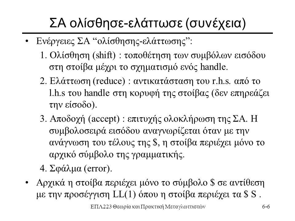 """ΕΠΛ223 Θεωρία και Πρακτική Μεταγλωττιστών6-6 ΣΑ ολίσθησε-ελάττωσε (συνέχεια) Ενέργειες ΣΑ """"ολίσθησης-ελάττωσης"""": 1. Ολίσθηση (shift) : τοποθέτηση των"""