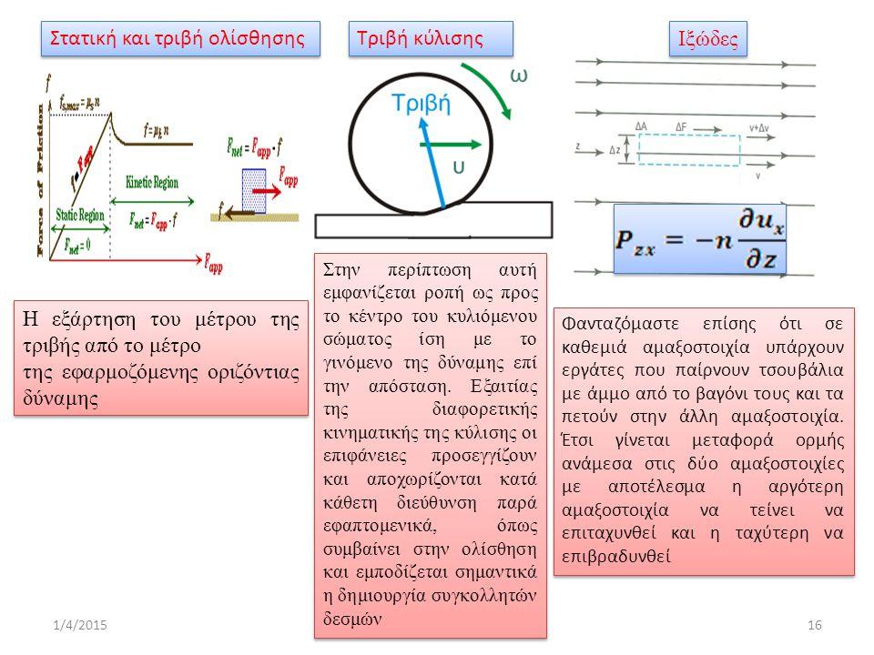 1/4/201516 Η εξάρτηση του μέτρου της τριβής από το μέτρο της εφαρμοζόμενης οριζόντιας δύναμης Η εξάρτηση του μέτρου της τριβής από το μέτρο της εφαρμοζόμενης οριζόντιας δύναμης Τριβή κύλισης Στην περίπτωση αυτή εμφανίζεται ροπή ως προς το κέντρο του κυλιόμενου σώματος ίση με το γινόμενο της δύναμης επί την απόσταση.