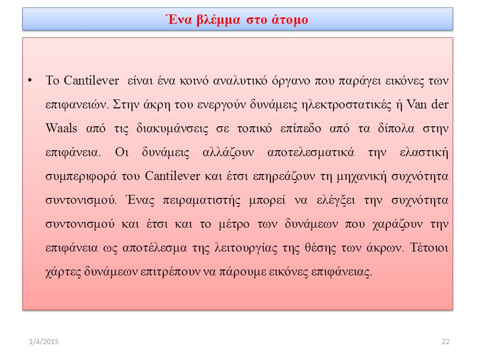 Ένα βλέμμα στο άτομο Το Cantilever είναι ένα κοινό αναλυτικό όργανο που παράγει εικόνες των επιφανειών.