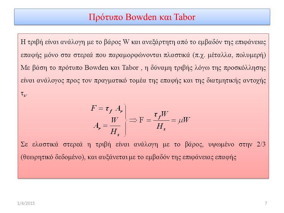 Πρότυπο Bowden και Tabor 1/4/20157 Η τριβή είναι ανάλογη με το βάρος W και ανεξάρτητη από το εμβαδόν της επιφάνειας επαφής μόνο στα στερεά που παραμορφώνονται πλαστικά (π.χ.