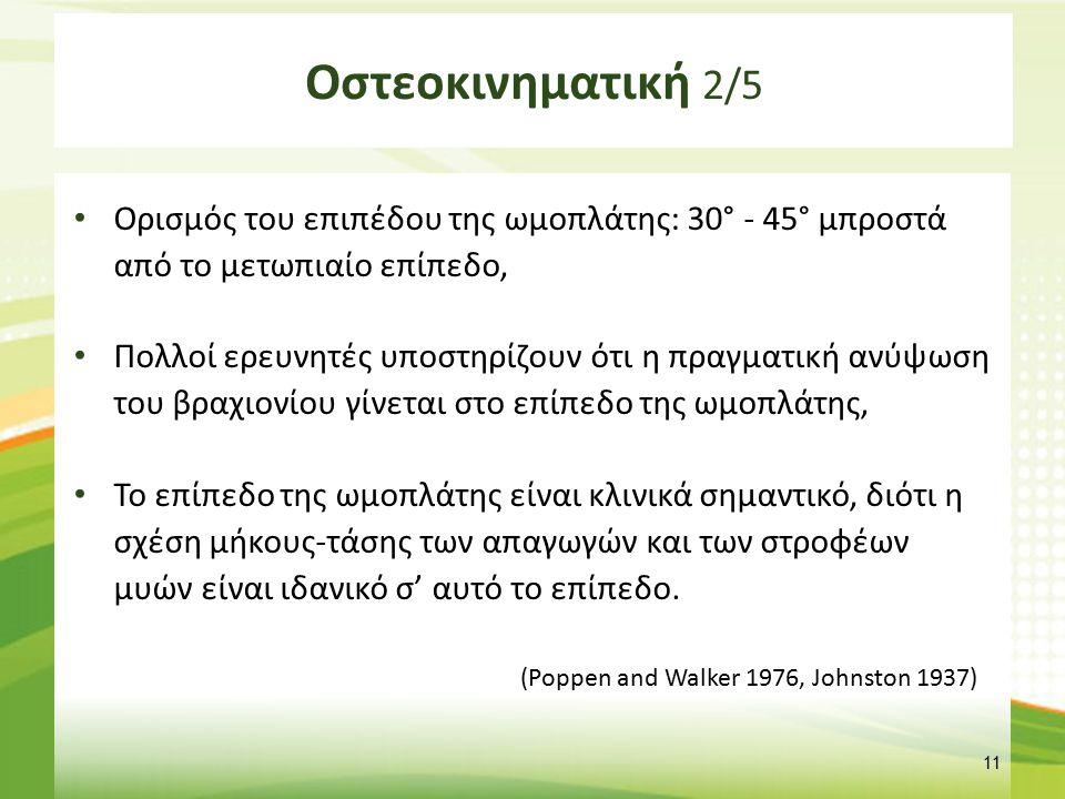 Οστεοκινηματική 2/5 Ορισμός του επιπέδου της ωμοπλάτης: 30° - 45° μπροστά από το μετωπιαίο επίπεδο, Πολλοί ερευνητές υποστηρίζουν ότι η πραγματική ανύ