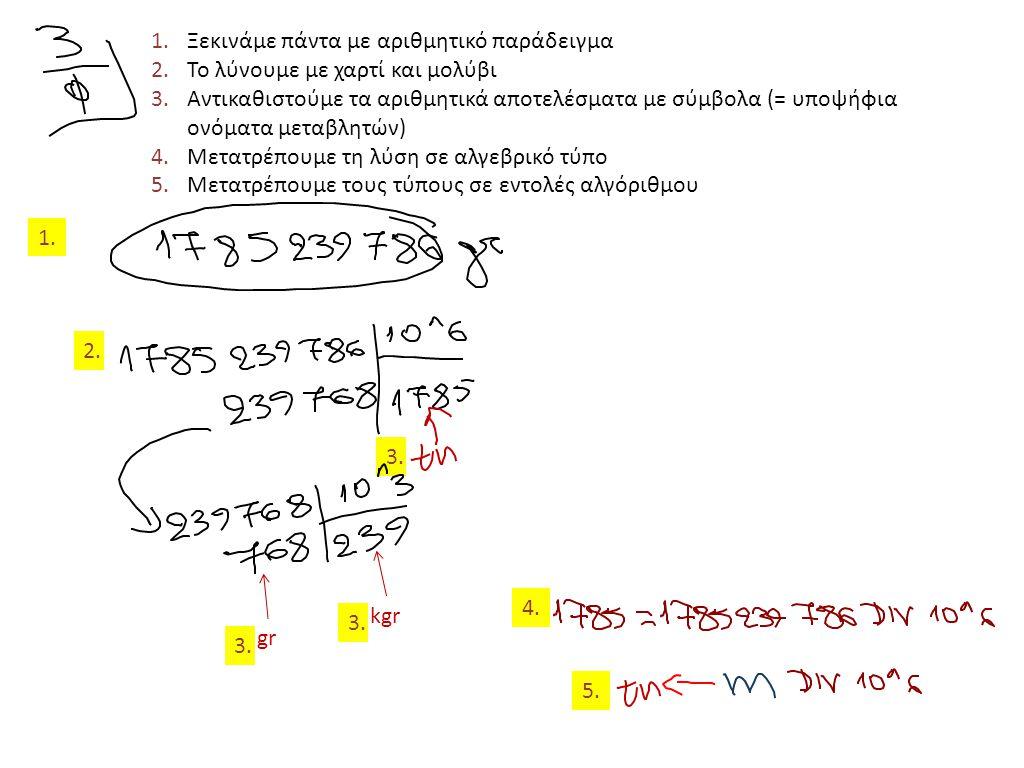 3. 1.Ξεκινάμε πάντα με αριθμητικό παράδειγμα 2.Το λύνουμε με χαρτί και μολύβι 3.Αντικαθιστούμε τα αριθμητικά αποτελέσματα με σύμβολα (= υποψήφια ονόμα