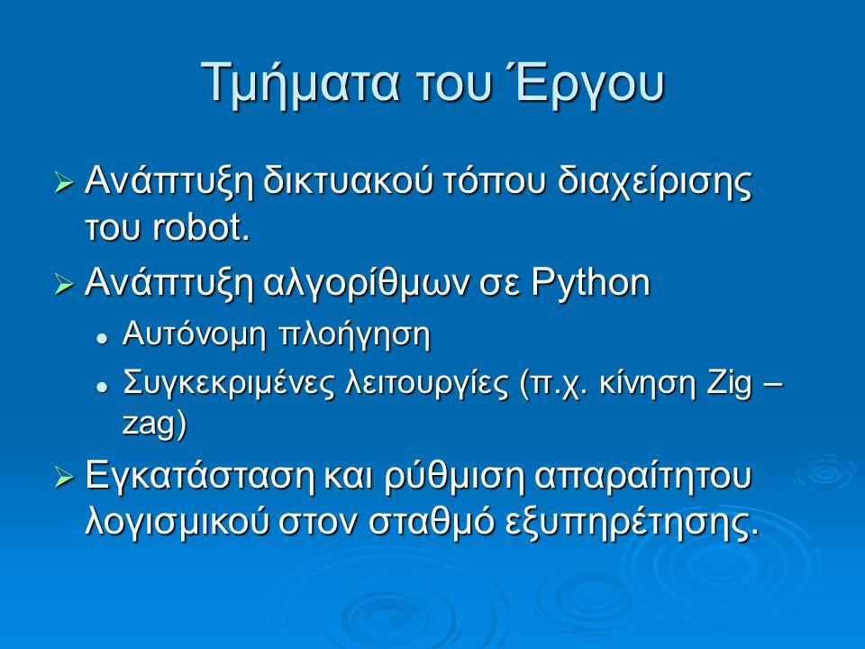 Τμήματα του Έργου  Ανάπτυξη δικτυακού τόπου διαχείρισης του robot.  Ανάπτυξη αλγορίθμων σε Python Αυτόνομη πλοήγηση Αυτόνομη πλοήγηση Συγκεκριμένες