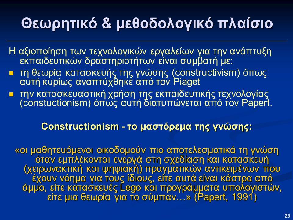 23 Θεωρητικό & μεθοδολογικό πλαίσιο Η αξιοποίηση των τεχνολογικών εργαλείων για την ανάπτυξη εκπαιδευτικών δραστηριοτήτων είναι συμβατή με: τη θεωρία κατασκευής της γνώσης (constructivism) όπως αυτή κυρίως αναπτύχθηκε από τον Piaget την κατασκευαστική χρήση της εκπαιδευτικής τεχνολογίας (constuctionism) όπως αυτή διατυπώνεται από τον Papert.