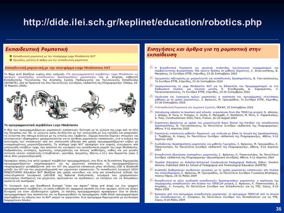 35 http://dide.ilei.sch.gr/keplinet/education/robotics.php