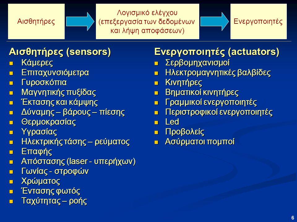 6 Αισθητήρες (sensors) Κάμερες Κάμερες Επιταχυνσιόμετρα Επιταχυνσιόμετρα Γυροσκόπια Γυροσκόπια Μαγνητικής πυξίδας Μαγνητικής πυξίδας Έκτασης και κάμψης Έκτασης και κάμψης Δύναμης – βάρους – πίεσης Δύναμης – βάρους – πίεσης Θερμοκρασίας Θερμοκρασίας Υγρασίας Υγρασίας Ηλεκτρικής τάσης – ρεύματος Ηλεκτρικής τάσης – ρεύματος Επαφής Επαφής Απόστασης (laser - υπερήχων) Απόστασης (laser - υπερήχων) Γωνίας - στροφών Γωνίας - στροφών Χρώματος Χρώματος Έντασης φωτός Έντασης φωτός Ταχύτητας – ροής Ταχύτητας – ροής Ενεργοποιητές (actuators) Σερβομηχανισμοί Ηλεκτρομαγνητικές βαλβίδες Κινητήρες Βηματικοί κινητήρες Γραμμικοί ενεργοποιητές Περιστροφικοί ενεργοποιητές Led Προβολείς Ασύρματοι πομποί Λογισμικό ελέγχου (επεξεργασία των δεδομένων και λήψη αποφάσεων) ΕνεργοποιητέςΑισθητήρες