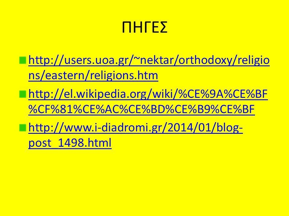 ΠΗΓΕΣ http://users.uoa.gr/~nektar/orthodoxy/religio ns/eastern/religions.htm http://el.wikipedia.org/wiki/%CE%9A%CE%BF %CF%81%CE%AC%CE%BD%CE%B9%CE%BF http://www.i-diadromi.gr/2014/01/blog- post_1498.html