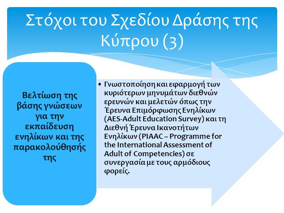 Στόχοι του Σχεδίου Δράσης της Κύπρου (3) Γνωστοποίηση και εφαρμογή των κυριότερων μηνυμάτων διεθνών ερευνών και μελετών όπως την Έρευνα Επιμόρφωσης Ενηλίκων (AES-Adult Education Survey) και τη Διεθνή Έρευνα Ικανοτήτων Ενηλίκων (PIAAC – Programme for the International Assessment of Adult of Competencies) σε συνεργασία με τους αρμόδιους φορείς.