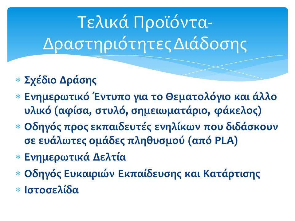  Σχέδιο Δράσης  Ενημερωτικό Έντυπο για το Θεματολόγιο και άλλο υλικό (αφίσα, στυλό, σημειωματάριο, φάκελος)  Οδηγός προς εκπαιδευτές ενηλίκων που διδάσκουν σε ευάλωτες ομάδες πληθυσμού (από PLA)  Ενημερωτικά Δελτία  Οδηγός Ευκαιριών Εκπαίδευσης και Κατάρτισης  Ιστοσελίδα Τελικά Προϊόντα- Δραστηριότητες Διάδοσης