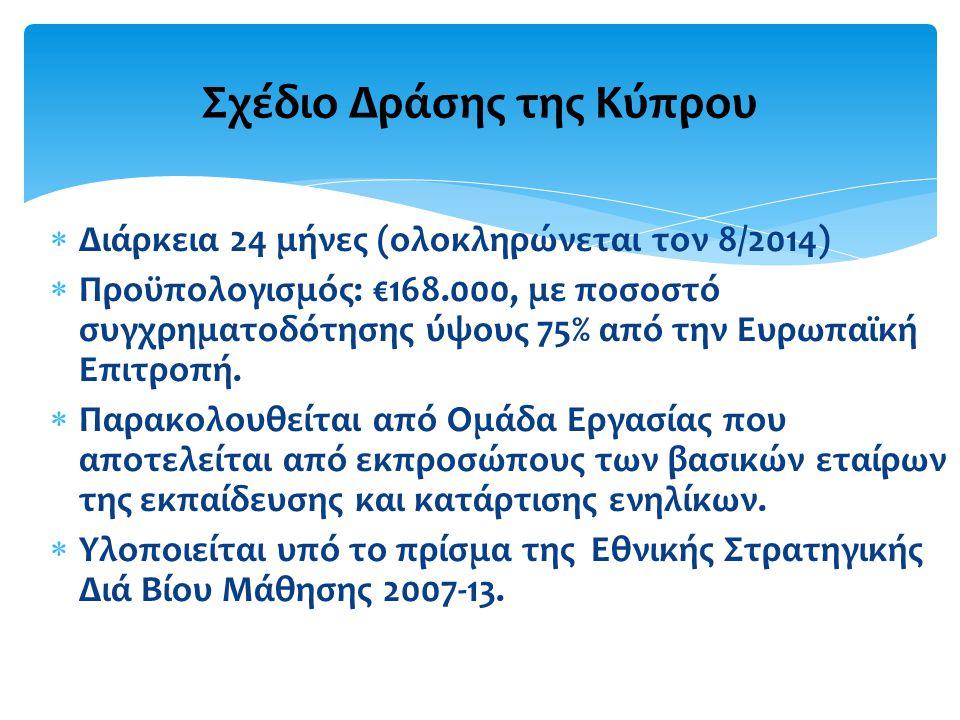  Διάρκεια 24 μήνες (ολοκληρώνεται τον 8/2014)  Προϋπολογισμός: €168.000, με ποσοστό συγχρηματοδότησης ύψους 75% από την Ευρωπαϊκή Επιτροπή.