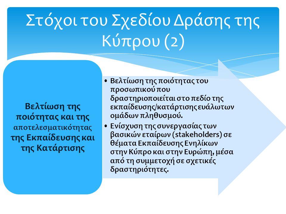 Στόχοι του Σχεδίου Δράσης της Κύπρου (2) Βελτίωση της ποιότητας του προσωπικού που δραστηριοποιείται στο πεδίο της εκπαίδευσης/κατάρτισης ευάλωτων ομάδων πληθυσμού.