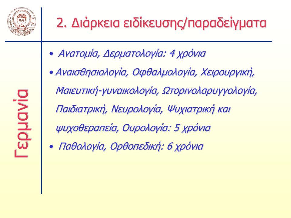 2. Διάρκεια ειδίκευσης/παραδείγματα Ανατομία, Δερματολογία: 4 χρόνια Ανατομία, Δερματολογία: 4 χρόνια Αναισθησιολογία, Οφθαλμολογία, Χειρουργική, Μαιε